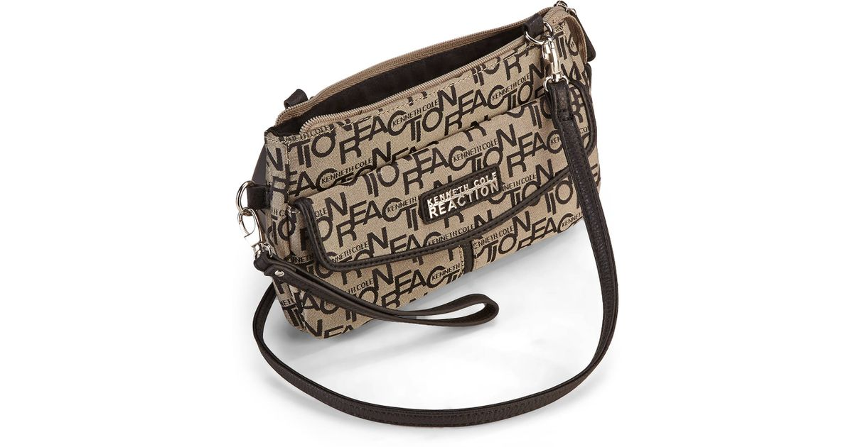 Lyst Kenneth Cole Reaction Natural Black Monorail Mini Crossbody Bag In