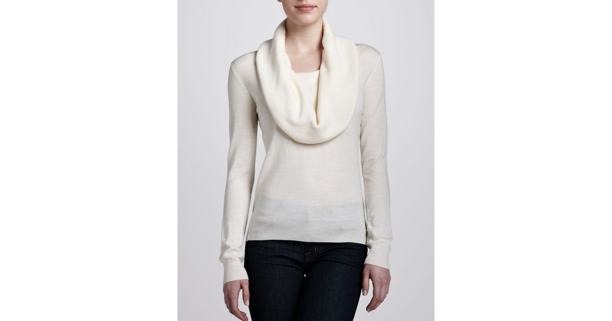 Michael kors Cowl Neck Sweater in Natural | Lyst