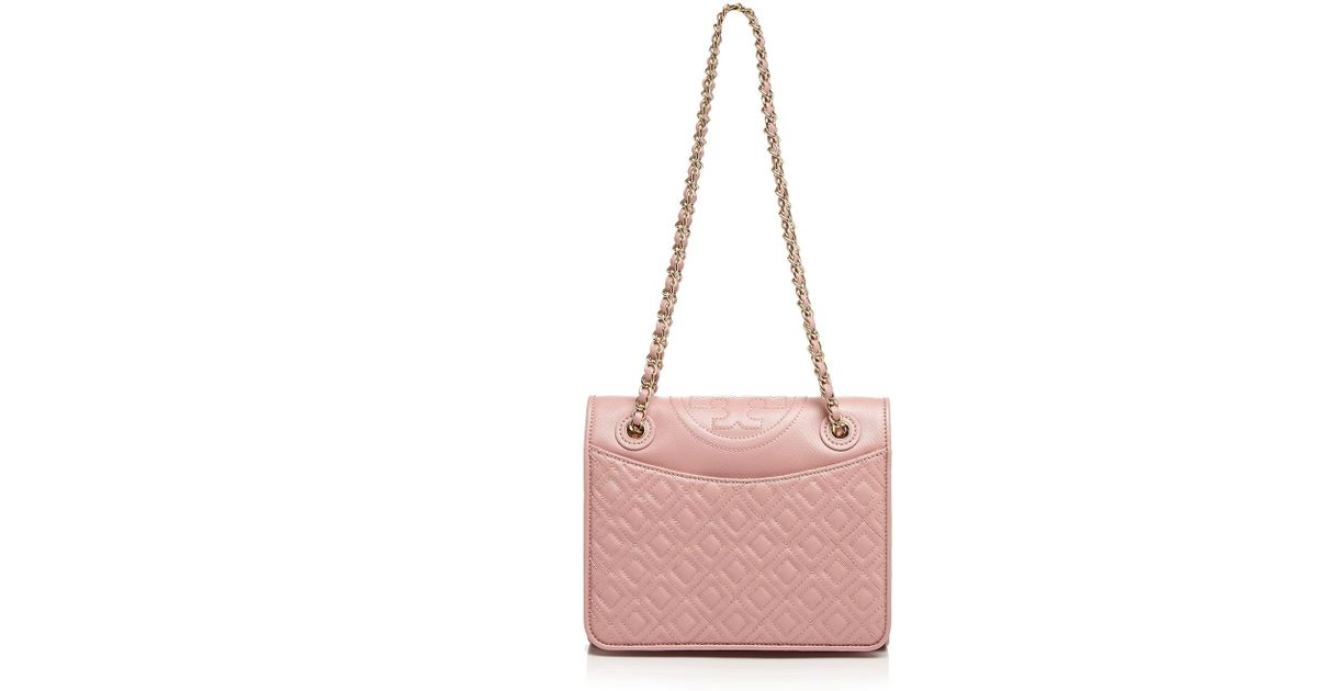 3dae42c0e5d6 Lyst - Tory Burch Shoulder Bag - Fleming Patent Medium in Pink