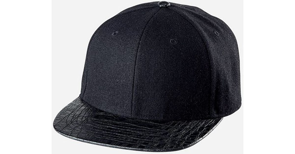Lyst - San Diego Hat Company Mens O s Wool Cap With Faux Reptile Skin Bill  And Adjustable Back in Black for Men 05b7b6845945