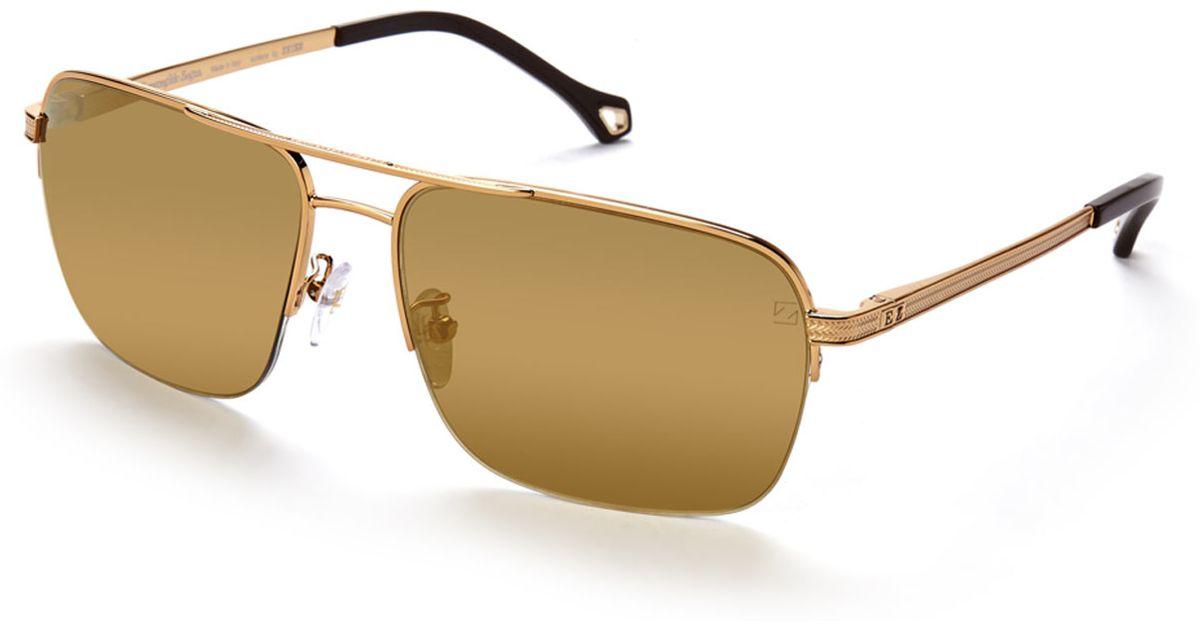 dbf4f9ea678c1 Lyst - Ermenegildo Zegna Sz3347 Gold-Tone Reflective Navigator Sunglasses  in Metallic for Men
