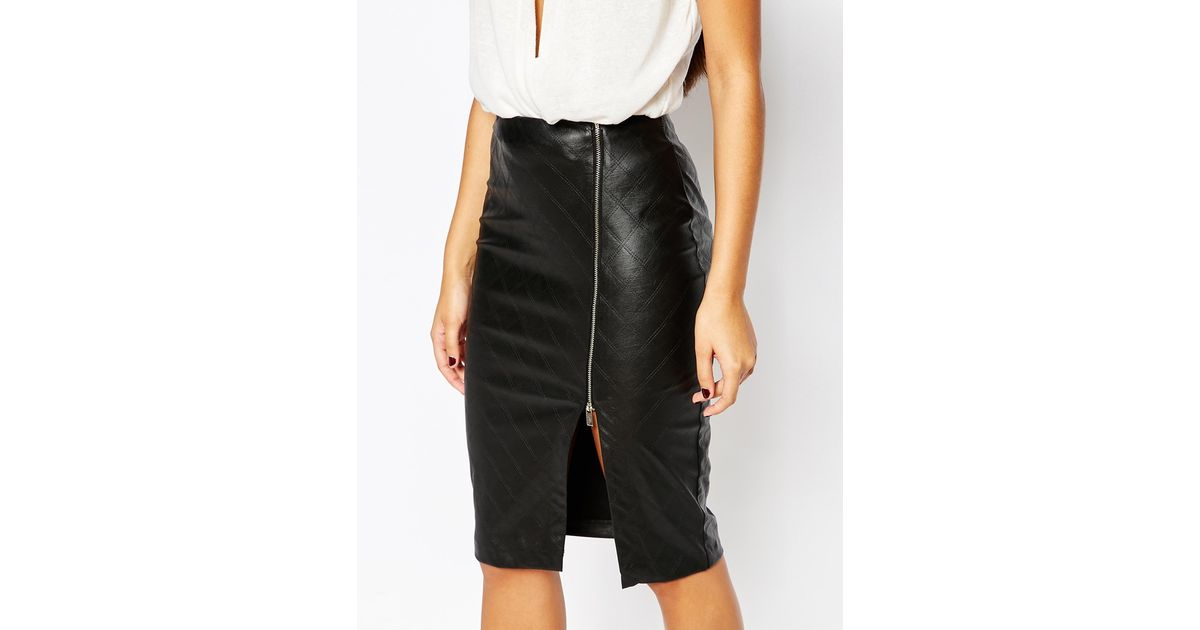 48f4e1c06 Lipsy Quilted Faux Leather Pencil Skirt With Side Split Zip in Black - Lyst