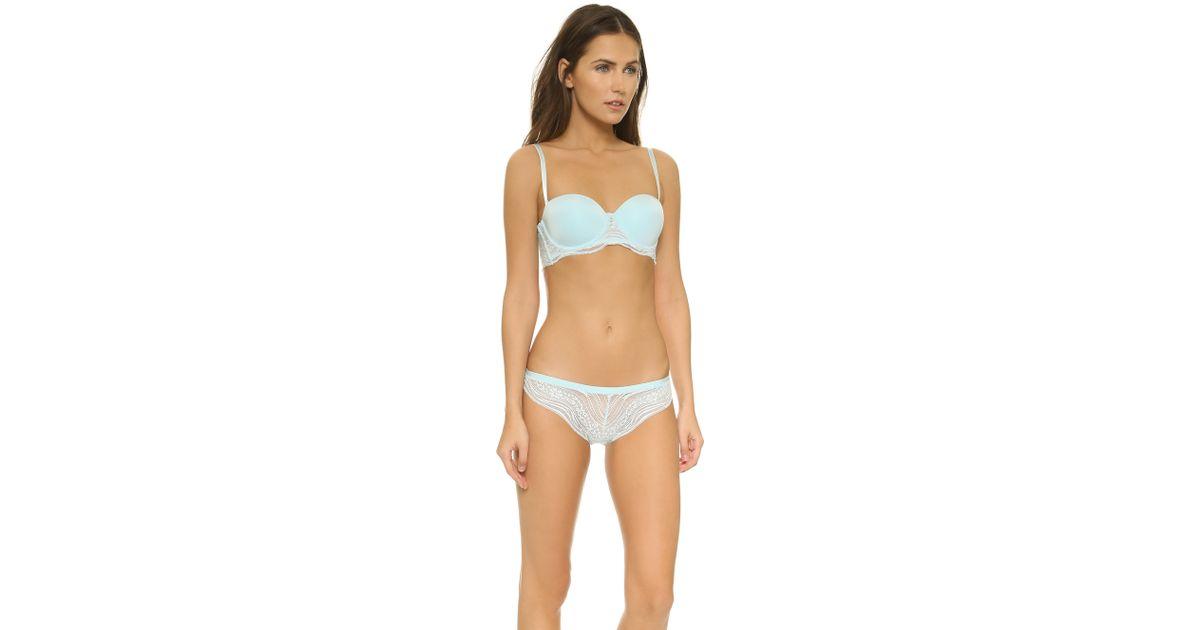 30471d867bb17 Lyst - Calvin Klein Infinite Lace Customized Lift Bra - Carolina in Blue