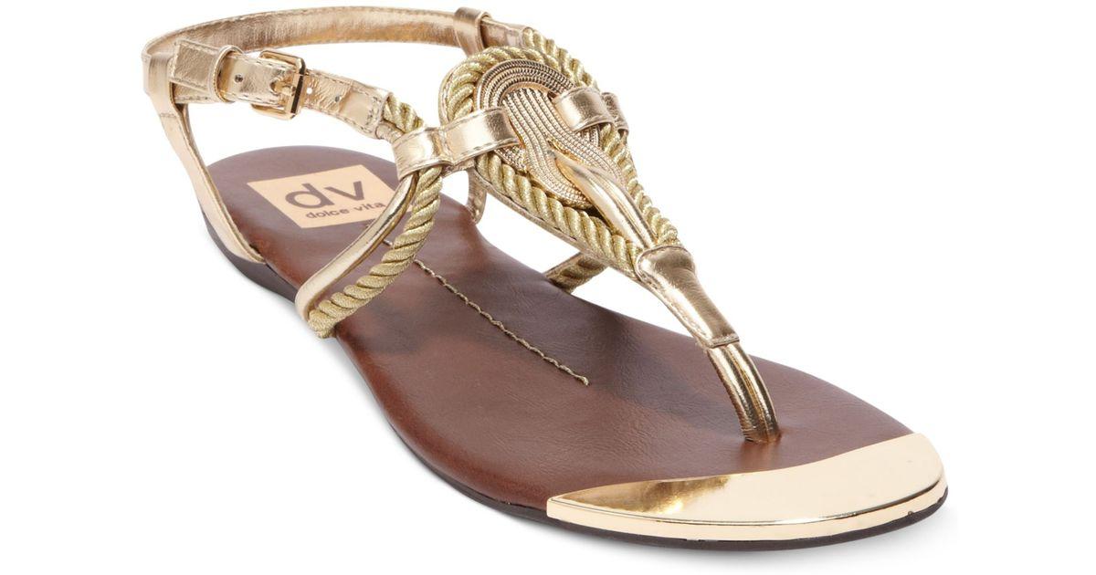 dd8dda43e04b Lyst - Dolce Vita Dv By Anica Flat Thong Sandals in Metallic
