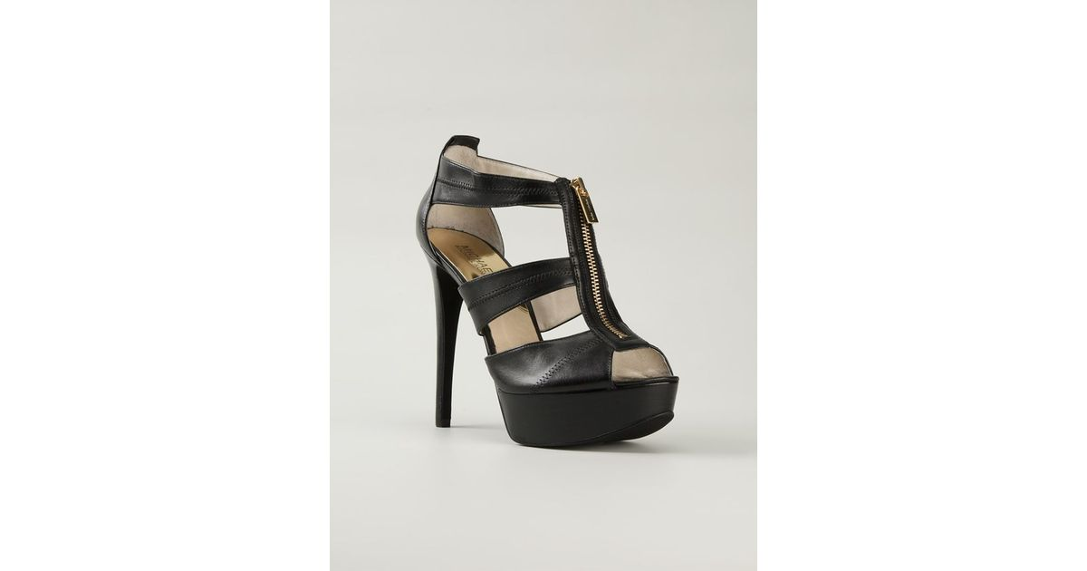 88873008f43e MICHAEL Michael Kors Front Zip Strappy Sandals in Black - Lyst