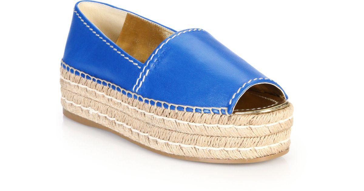 Lyst - Prada Open-toe Leather Platform Espadrilles in Blue 0cbeb3918c
