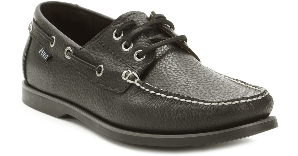 Lyst - Polo Ralph Lauren Bienne Tumbled Leather Boat Shoes in Black for Men