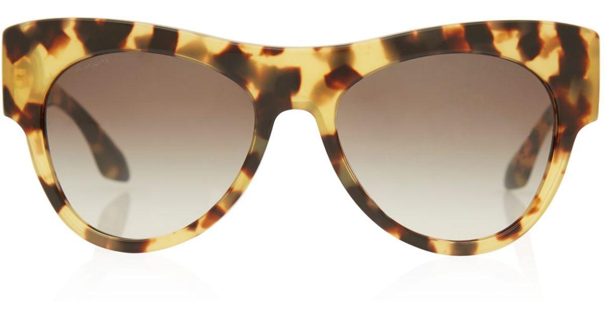 367d45599296 ... denmark lyst prada tortoiseshell pilot frame acetate sunglasses in  brown 66505 1f4f0