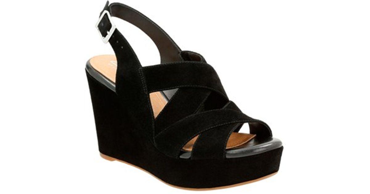73903c59eb2 Clarks Amelia Alice Slingback Wedge Sandals in Black - Lyst