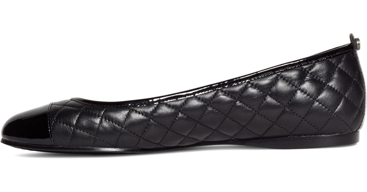 b31bf503ed9 Lyst Brooks Brothers Quilted Calfskin Captoe Flats In Black