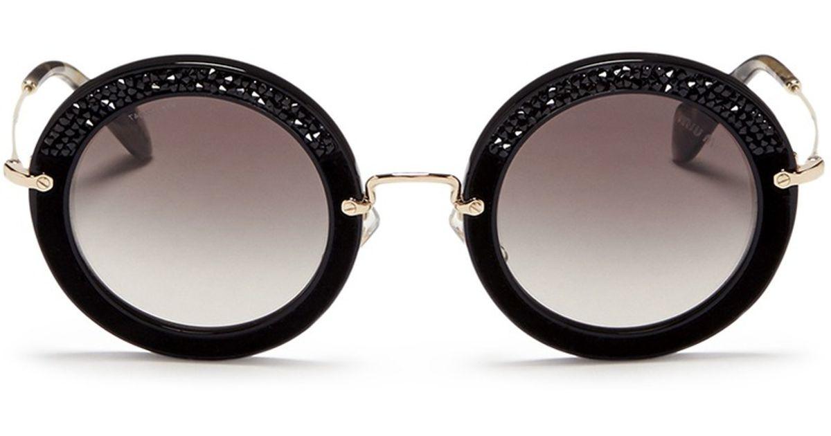4ddde97d99f Miu Miu  noir  Crystal Embellishment Suede Rim Acetate Round Sunglasses in  Black - Lyst