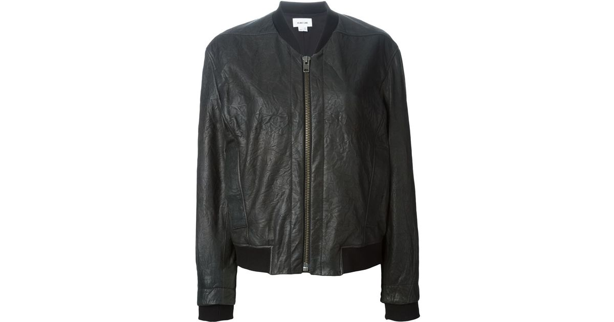 4b328be2685 Lyst - Helmut Lang Leather Bomber Jacket in Black