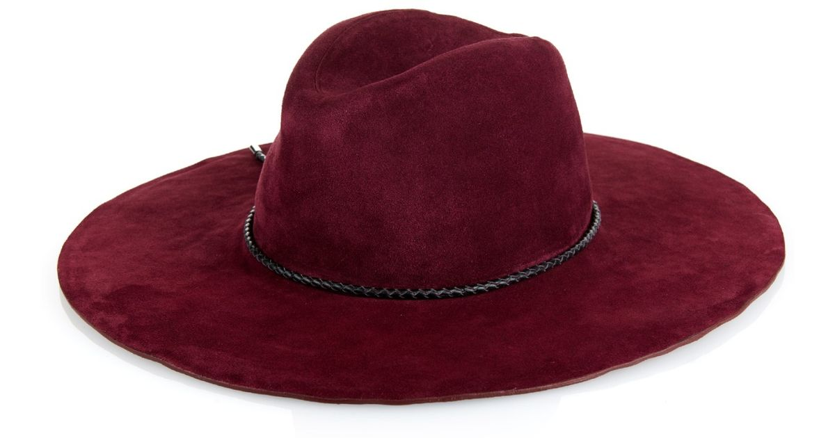 85ad961350a Lyst - Emilio Pucci Woven-Leather Trim Suede Hat in Pink