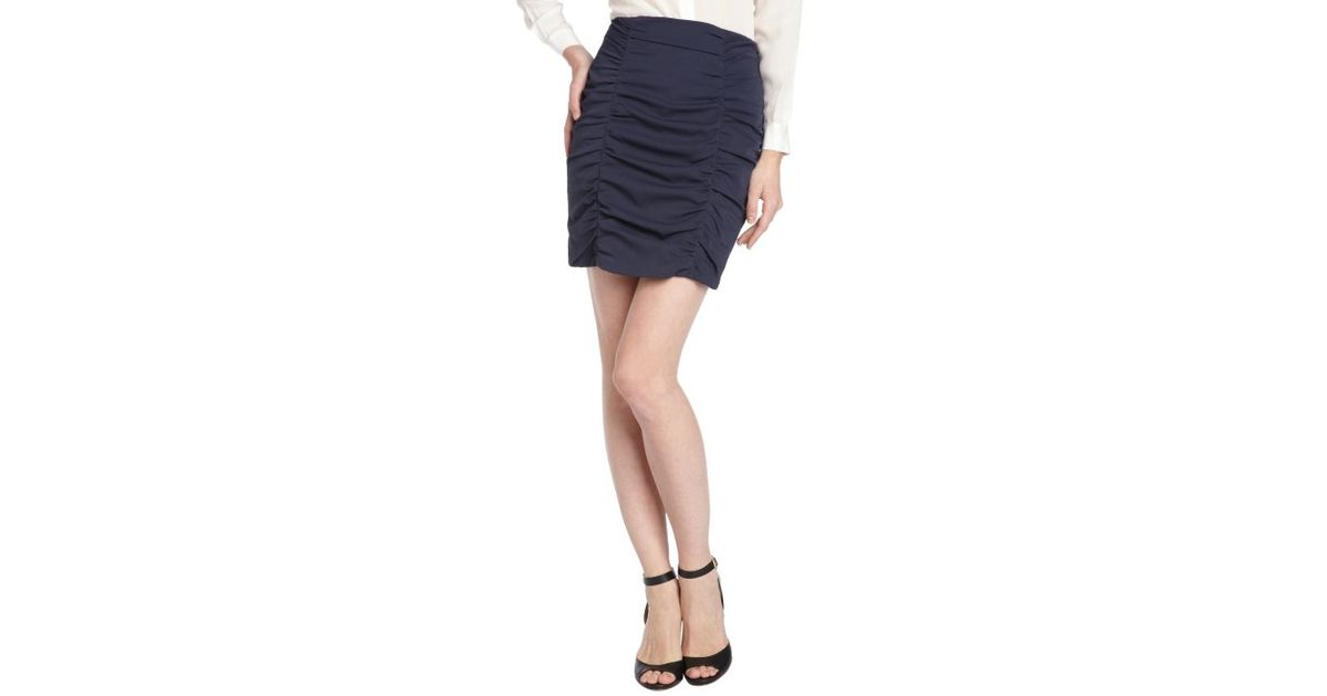 nanette lepore navy ruched pencil skirt in blue navy lyst
