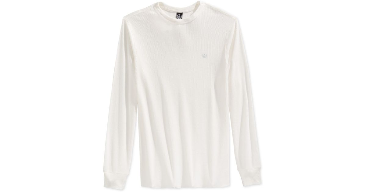 Volcom Ceerow Thermal Long Sleeve T Shirt In White For Men