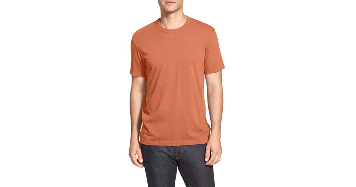 James perse crewneck jersey t shirt in brown for men lyst for James perse t shirts sale