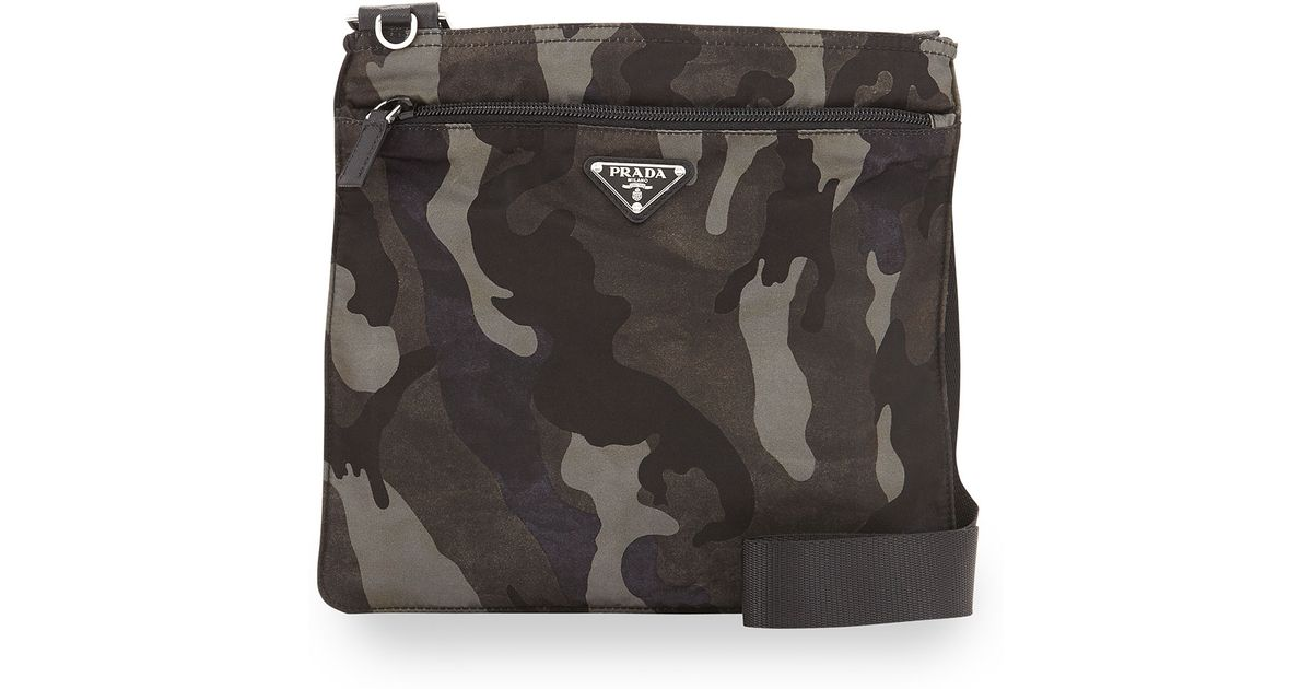 398e1272eb96 Prada Tessuto Camo-Print Crossbody Bag in Green for Men - Lyst