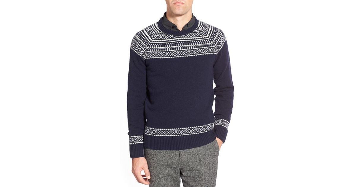 Bonobos Fair Isle Raglan Sleeve Lambswool Sweater in Gray for Men ...