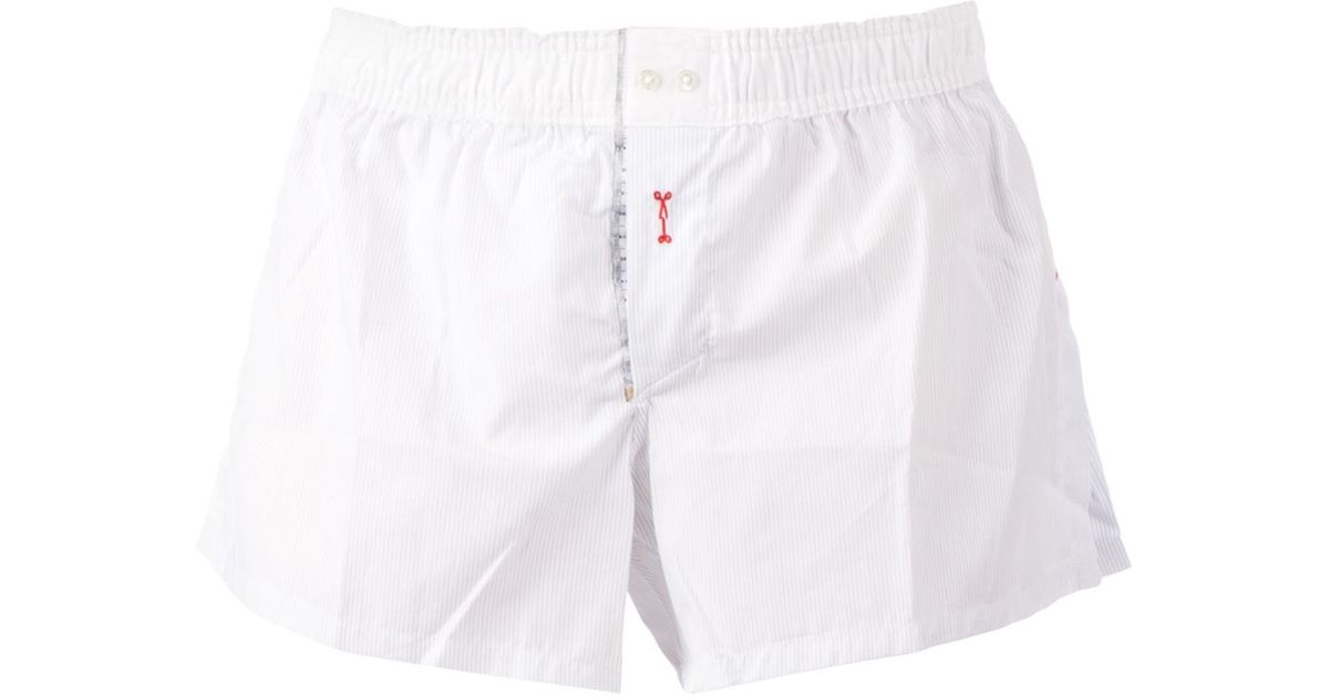 Lyst - Marchand Drapier Striped Boxer Shorts in White for Men 41a10b4065d