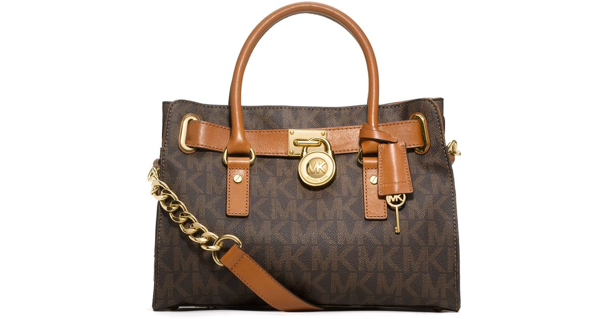 9a30cb82d1e9 MICHAEL Michael Kors Hamilton Mk Logo Satchel Bag in Brown - Lyst