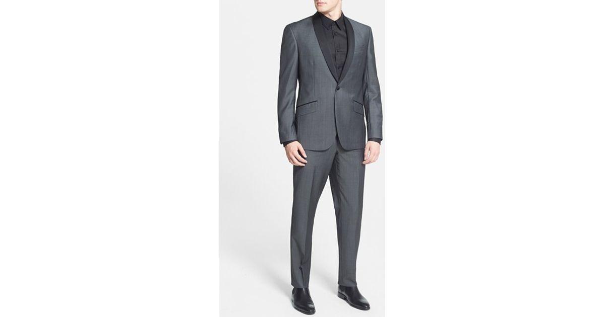 65dcb6c36812f6 Ted Baker 'josh' Trim Fit Wool & Mohair Tuxedo in Gray for Men - Lyst