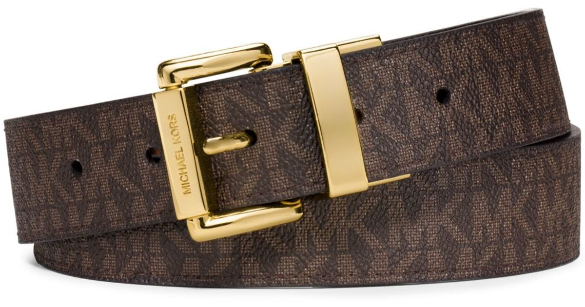 4f3703cad91f Michael Kors Reversible Logo And Embossed-leather Belt in Brown - Lyst