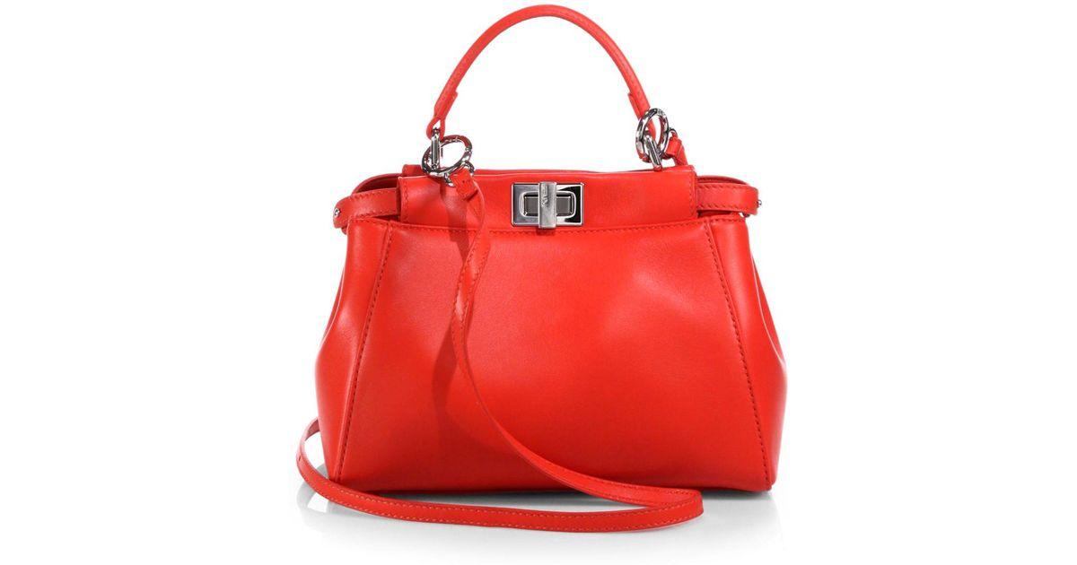 0e9cf4a532a4 Lyst - Fendi Peekaboo Mini Satchel in Red