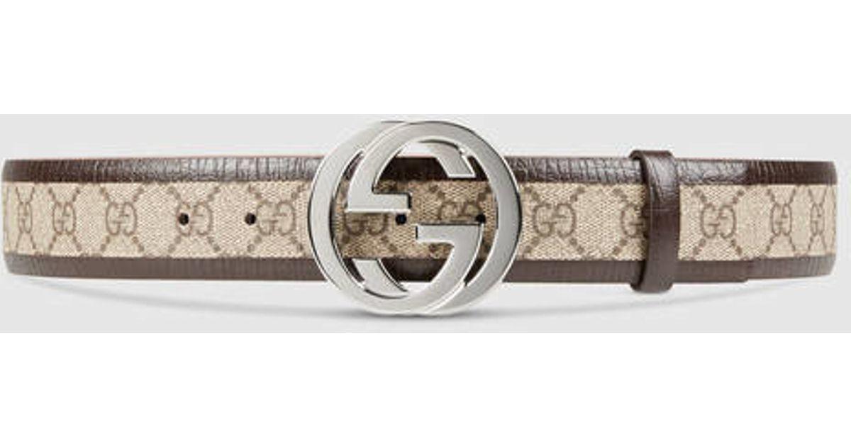 59853bc839d Lyst - Gucci Original Gg Belt With Interlocking G in Brown