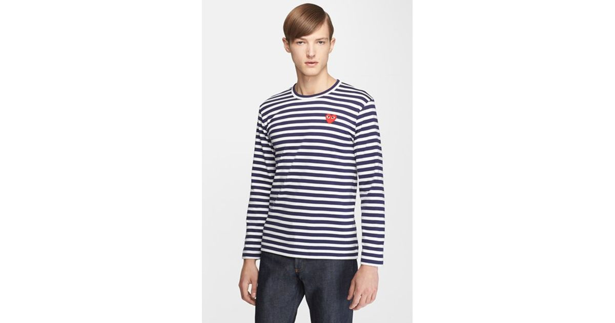 Comme des gar ons play stripe t shirt in blue for men lyst for Blue and white striped long sleeve t shirt
