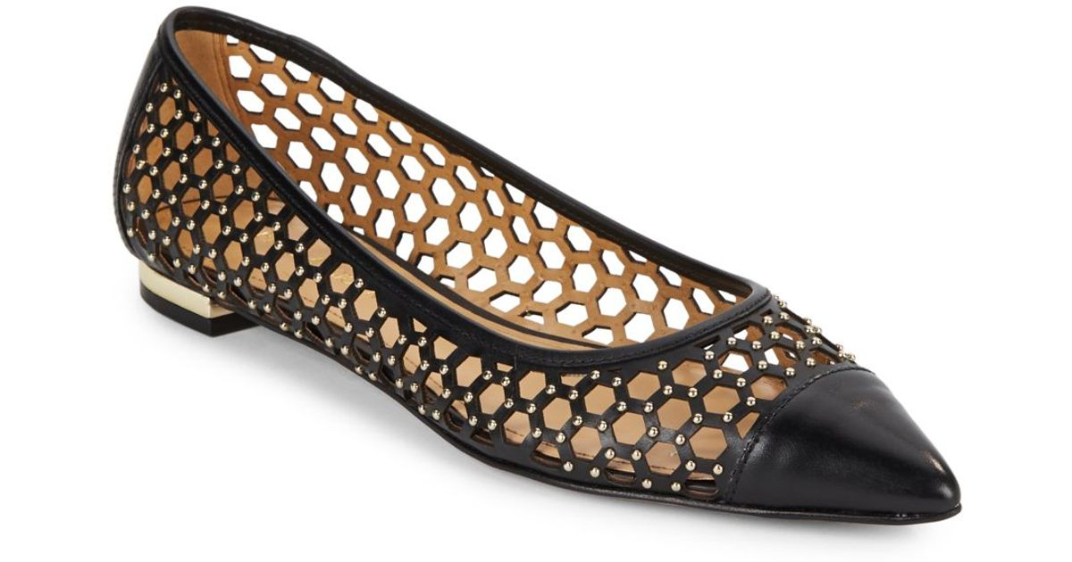 Lyst - Enzo Angiolini Arabella Studded Point-toe Flats in Black 0554d52750
