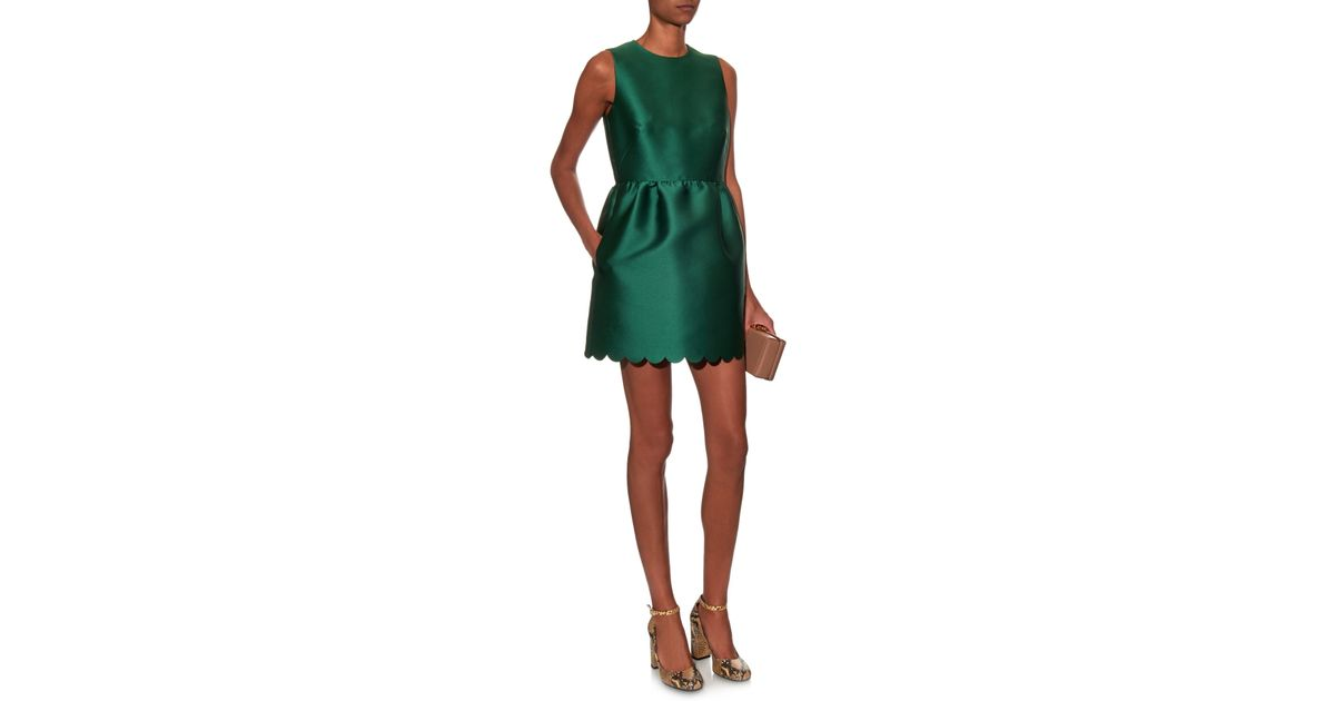 6fe6b1d6a58 RED Valentino Scalloped-hem Twill Mini Dress in Green - Lyst
