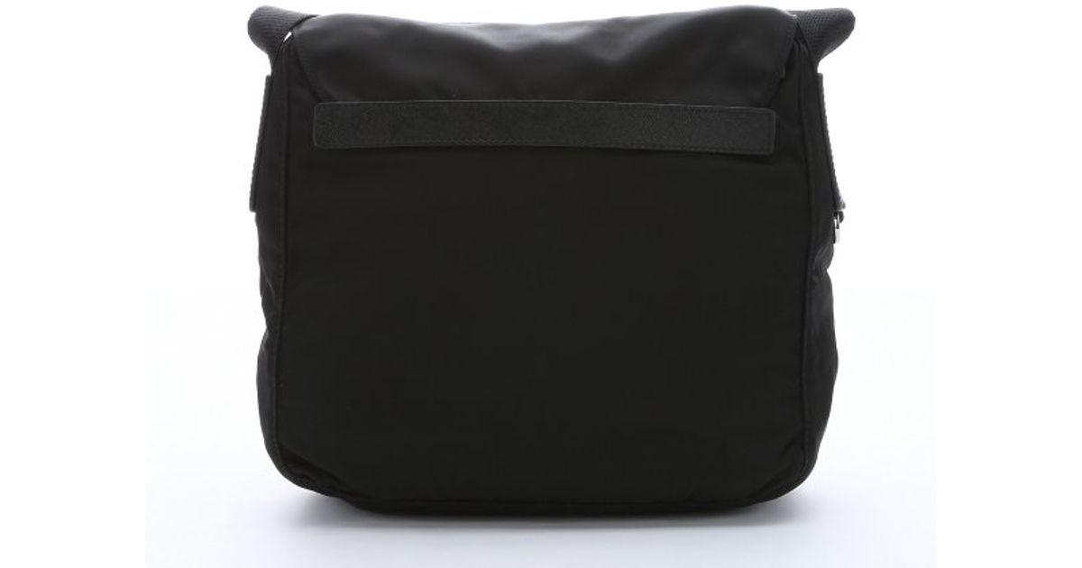 d5f15de4267c ... amazon lyst prada black nylon small flap front messenger bag in black  for men 06bcf 1ac9d