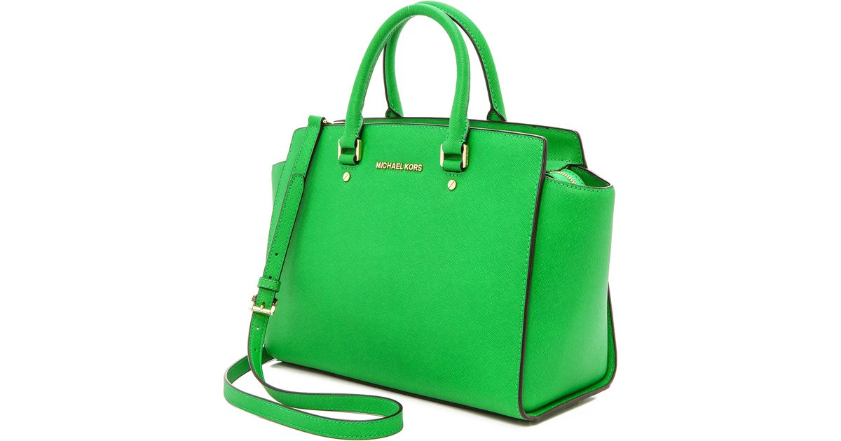 7a90551936fd Lyst - MICHAEL Michael Kors Selma Large Tz Satchel Palm in Green