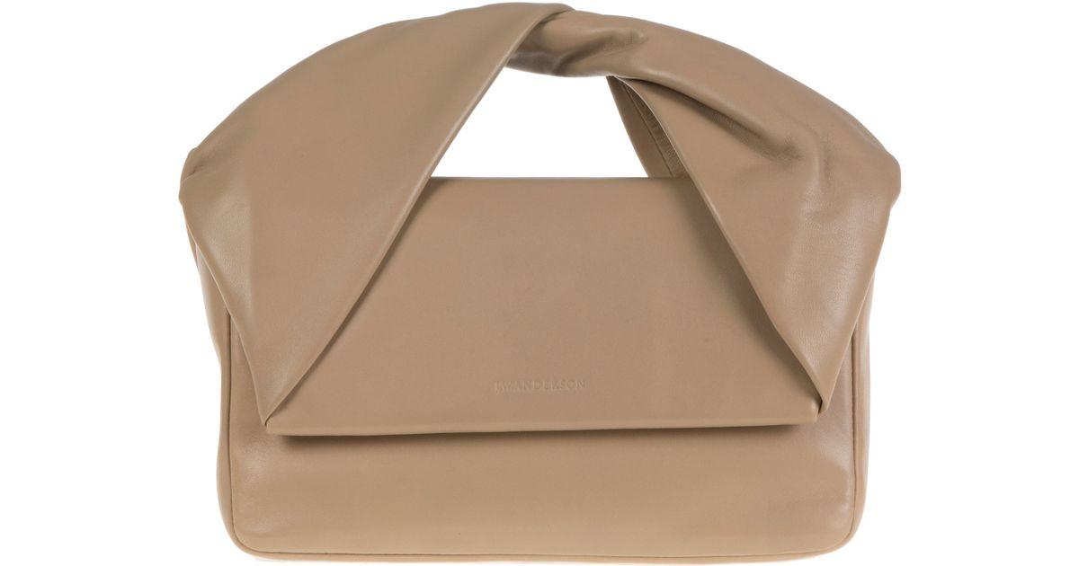 Lyst - JW Anderson Twist Leather Shoulder Bag in Natural af49fcb69d3a0