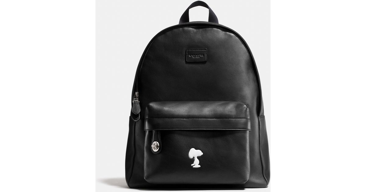 733e8cef5723 Lyst - COACH X Peanuts Small Campus Backpack In Leather in Black