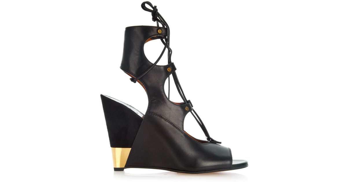 Womens High Heels Chlo Eliza Leather and Suede Wedges Heels On Sale Online