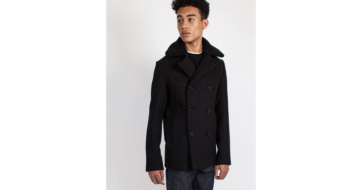 Lyst - Schott Nyc Nyc Cyclone Classic Peacoat With Detachable Collar in  Black for Men b1eb6450d3f