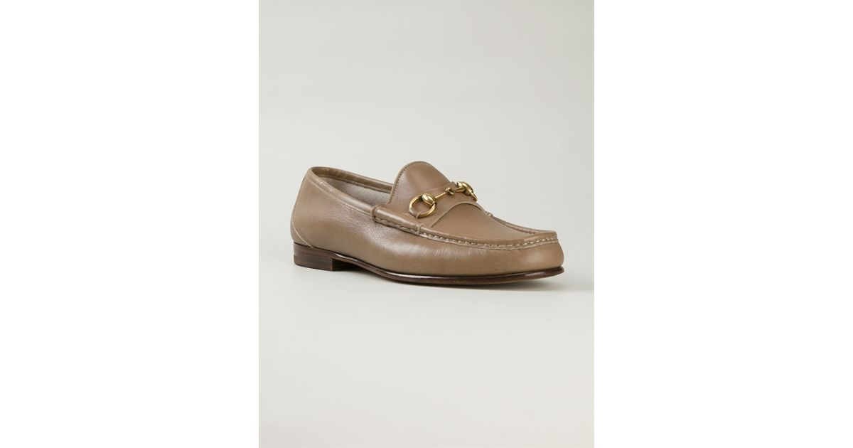 bf956255b29 Lyst - Gucci Horsebit Loafers in Natural