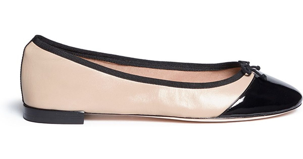 447e3ffcdd Lyst - Cole Haan 'Sarina' Patent Toe Cap Ballet Flats in Natural