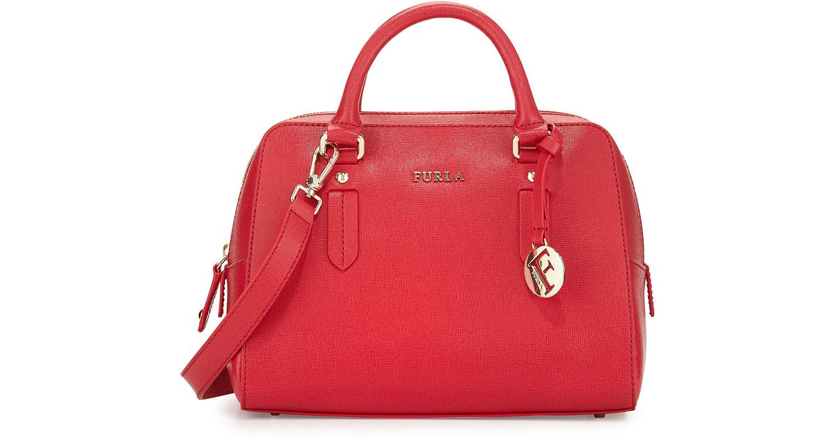 8a33958faef5 Lyst - Furla Elena Small Leather Satchel Bag in Red