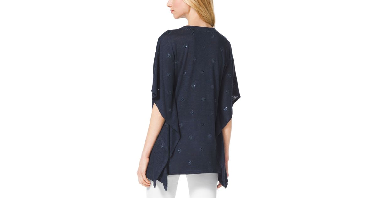 43f769bdc1e Lyst - Michael Kors Embroidered Linen-Blend Tunic in Blue