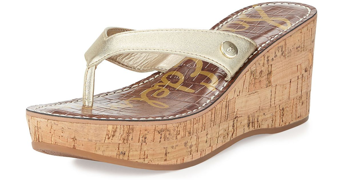 ddf6b14bcce3 Lyst - Sam Edelman Romy Patent Leather Wedge Sandal in Natural