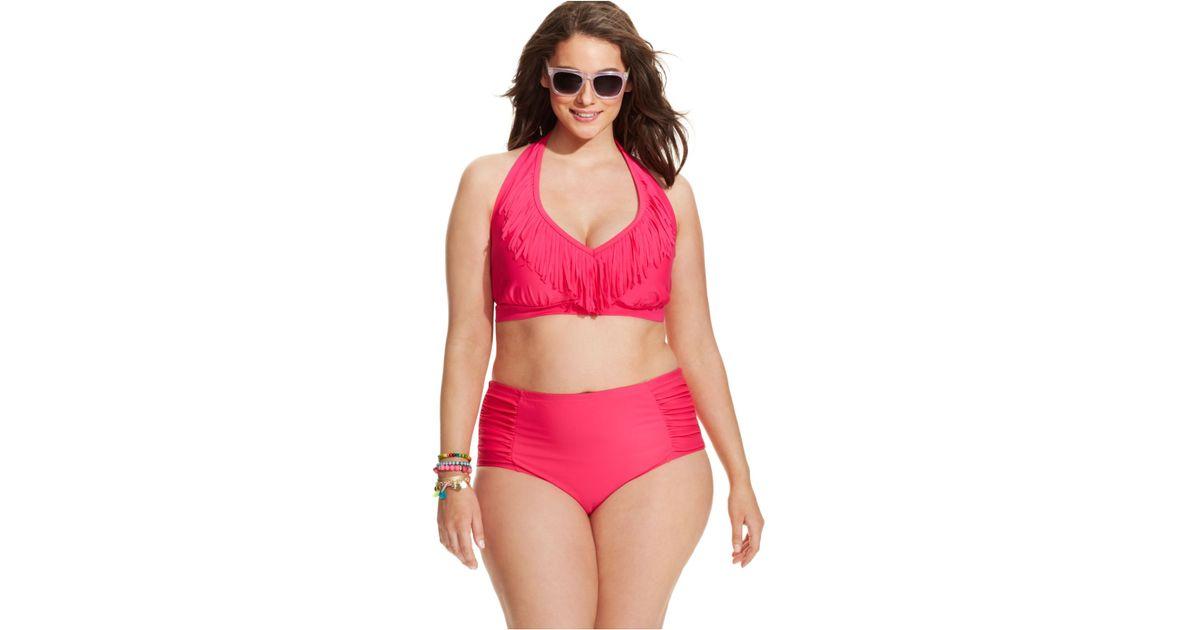 88b86fc536 Lyst - Jessica Simpson Plus Size Fringed Halter Bikini Top in Pink