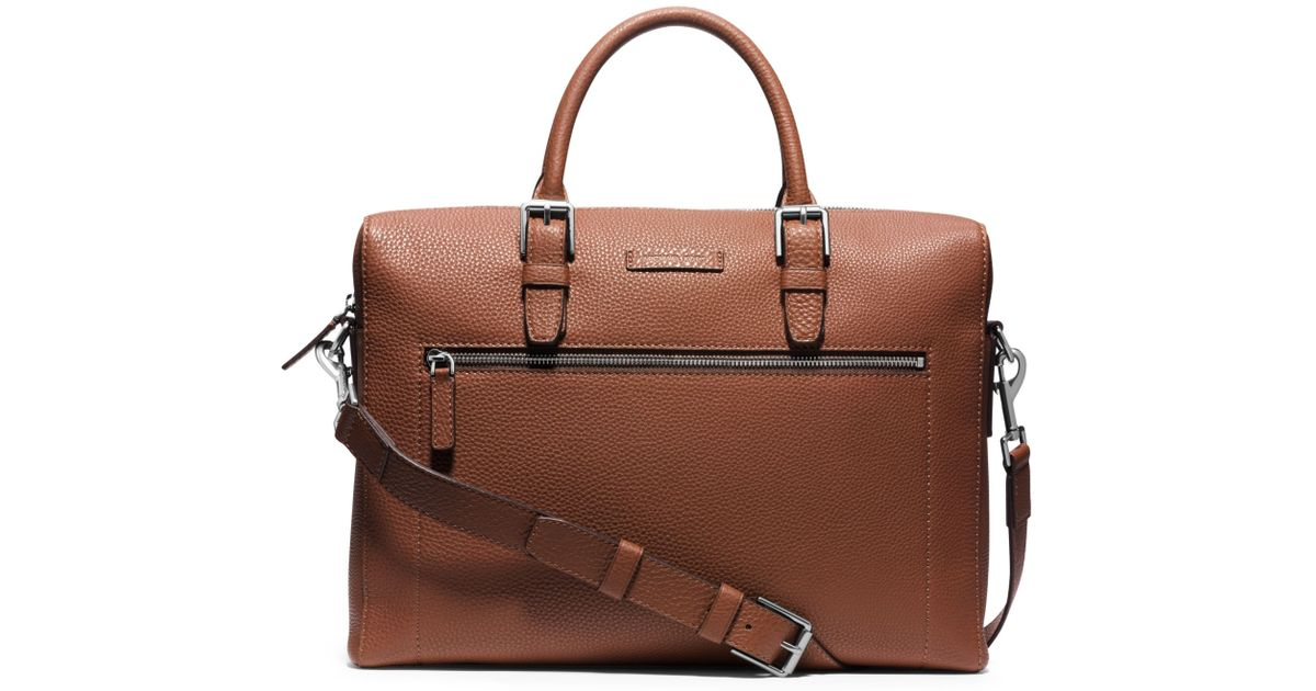 6085b5cc82c0 Michael Kors Bryant Large Pebbled-leather Briefcase in Brown for Men - Lyst