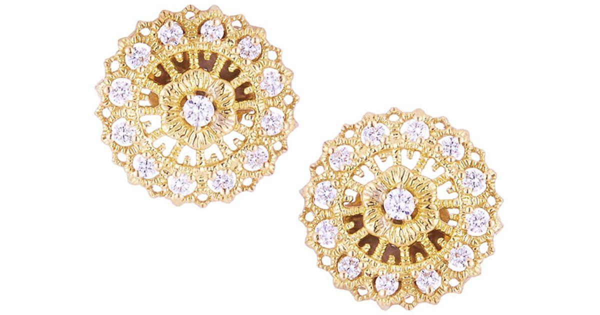 521f18224e02ee Lyst - Penny Preville 18k Yellow Gold Diamond Lace Stud Earrings in Metallic