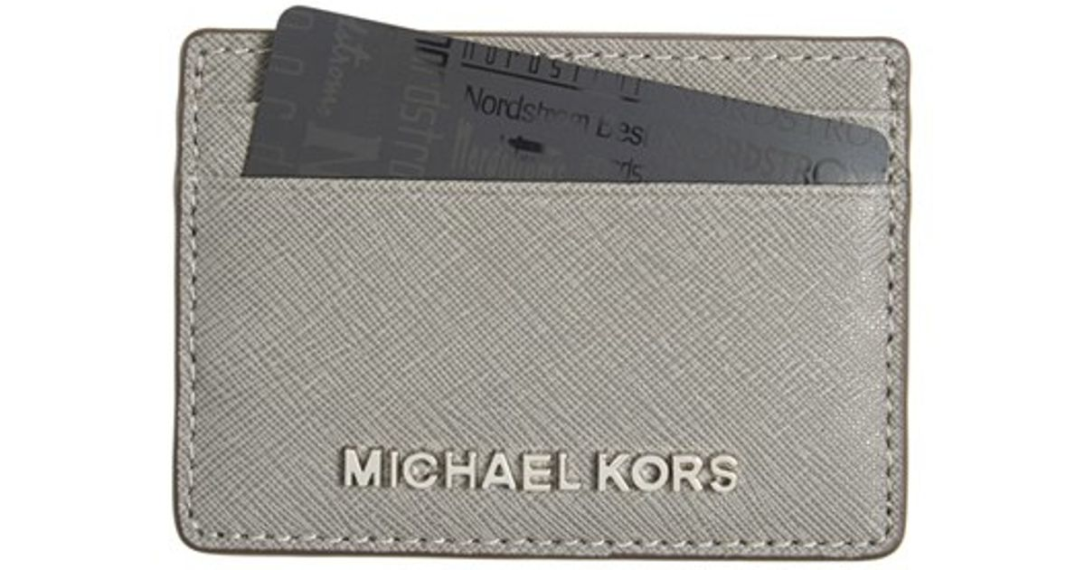f015ad3ce87c Lyst - MICHAEL Michael Kors  jet Set  Card Holder in Gray