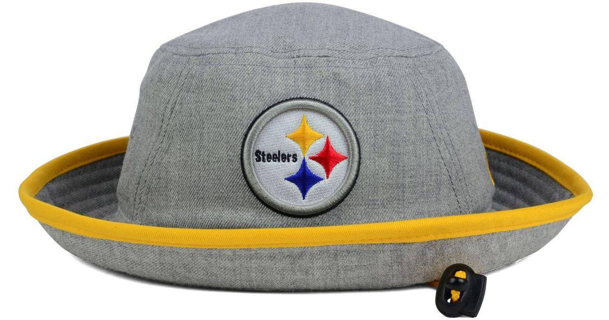 f5bccfb2735 Lyst Ktz Pittsburgh Steelers Nfl Heather Gray Bucket Hat In