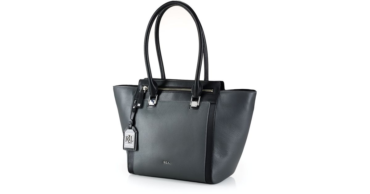bc2eaa2894f4 ... where to buy lyst lauren by ralph lauren ashford tumbled leather tote  bag in gray 110c1 ...