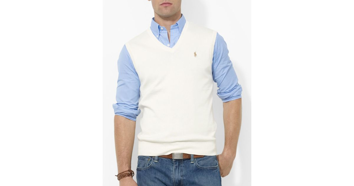 Ralph lauren Polo Pima Cotton Sweater Vest in Natural for Men | Lyst