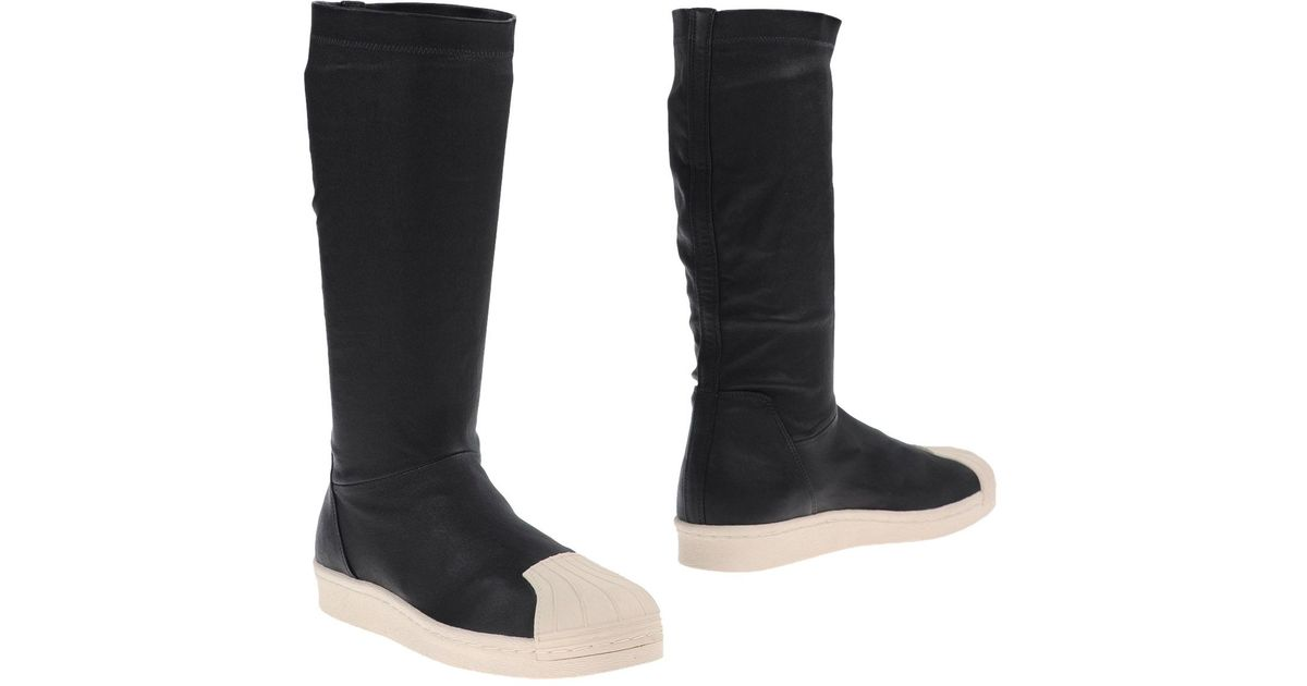 rick owens leather knee high boots in black for lyst